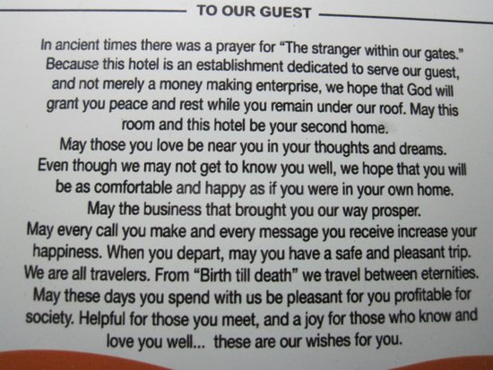 Arenal Springs Resort and Spa: A beautiful prayer to guests in the guest rooms