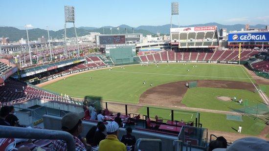 MAZDA Zoom-Zoom Stadium Hiroshima : 試合前の練習風景