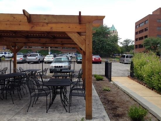 Crave Coffee House: Outdoor Patio With SLU Hospital In Background