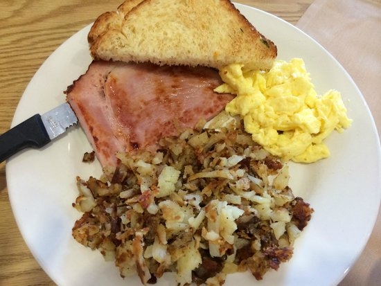 The Breakfast Place: Ham, eggs, and jalapeno bread