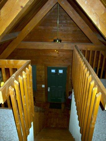 View of cabin door from loft