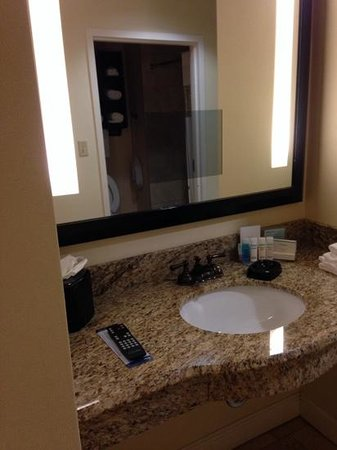 Hampton Inn & Suites Charlotte - South Park: bathroom mirror with tv in mirror