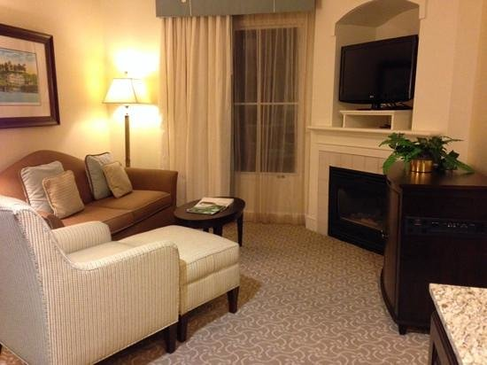 Hampton Inn & Suites Charlotte - South Park: sitting area with tv and gas fireplace in king suite