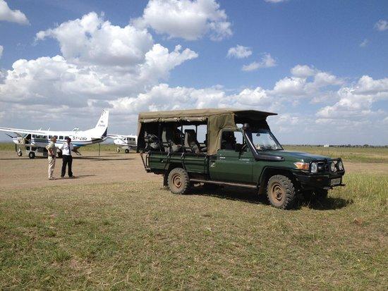 Sentinel Mara Camp: Sentinel safari vehicle at the airstrip.