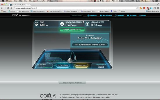Hampton Inn and Suites San Clemente: internet Speedtest in the room