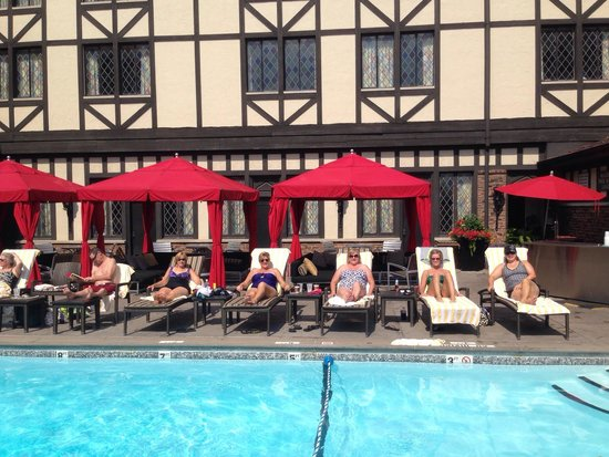 The Cheshire: Bathing beauties. Enjoying cocktails by the lovely pool