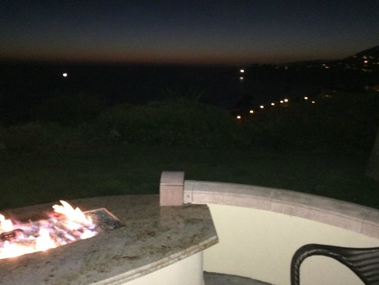 The Ritz-Carlton, Laguna Niguel: Our electric firepit is visible on the left- more romantic than it sounds!