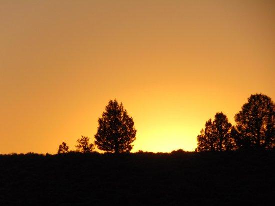Cowboy Dinner Tree Restaurant: Lovely sunset just outside our cabin door