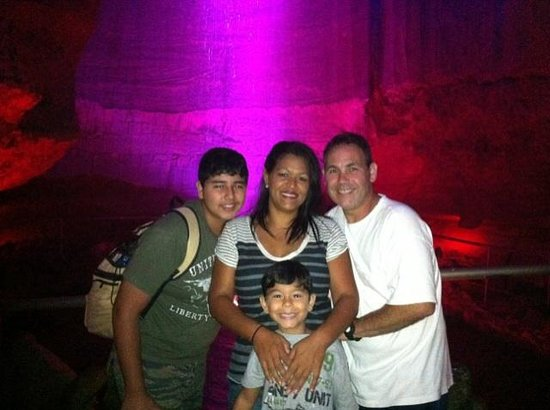 Our family trying to catch the beautiful light display of Ruby Falls