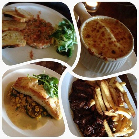 Les Faux Bourgeois : Starters (good), Onion Soup (excellent), Halibut (excellent), Beef (Very good)