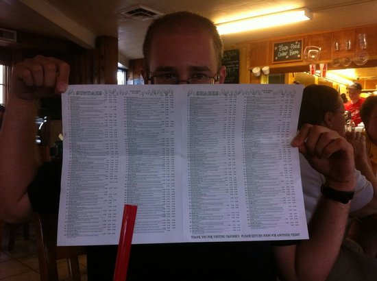 Ivanhoe's Drive In: Ice cream menu. Just ice cream... 200 options.