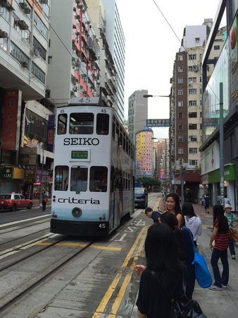 Hong Kong Tramways (Ding Ding): The Ding Ding arrives at a stop near Wan Cai
