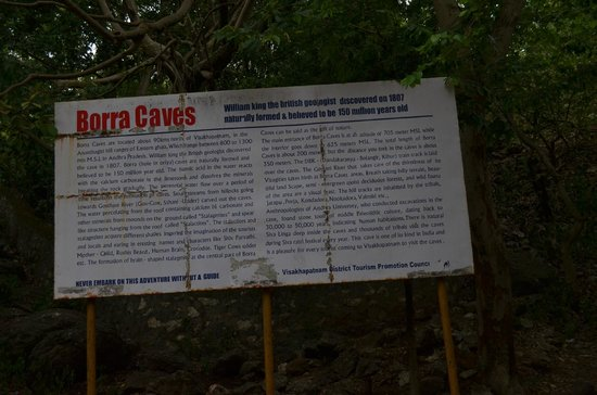 Borra Caves: Info Board