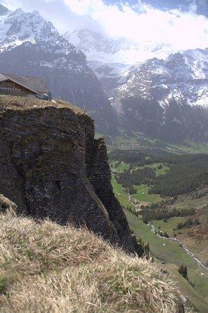 Männlichenbahn Grindelwald: View from First, back down to Grindelwald