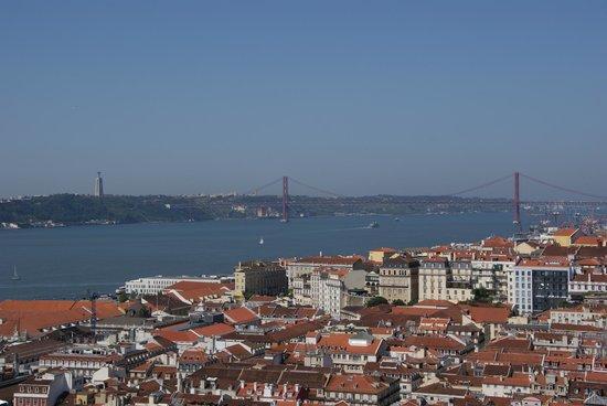 Castillo de San Jorge: View of the Tejobay, The 25th of April bridge and the statue of Christo Rei