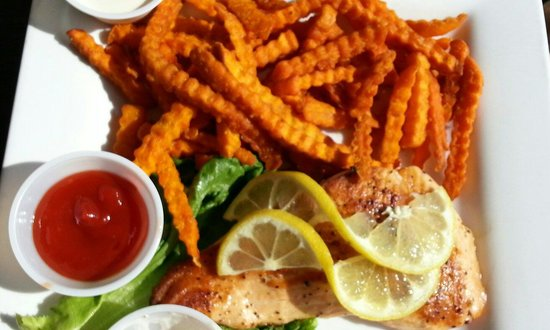 Dock Shack: Grilled salmon with sweet potato fries.