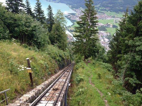 Harder Kulm: going up the funicular railway