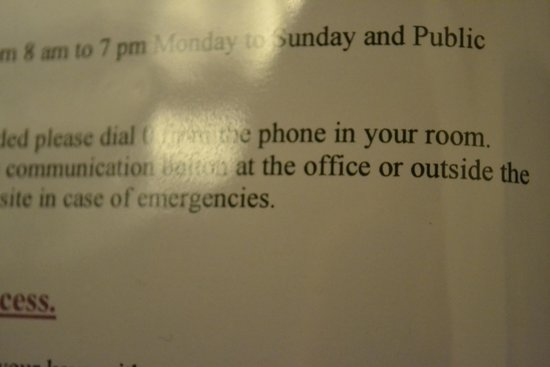 "Parnell Inn: "". . . . phone in your room."""