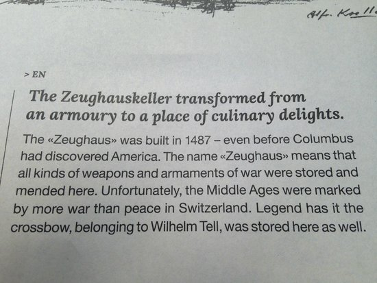 Zeughauskeller : bit about the place
