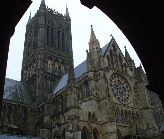 Lincoln Cathedral: The glorious Central Tower from the Cloister