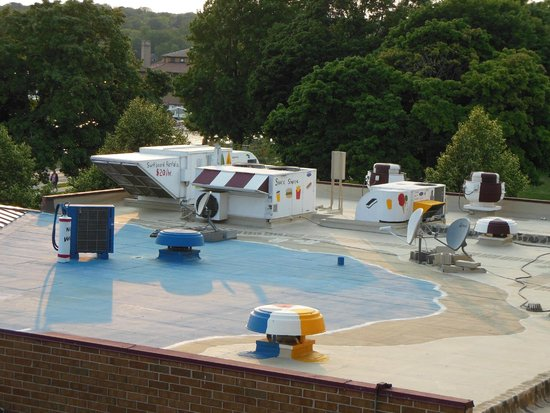 Harbor Shores on Lake Geneva: Tacky rooftop equipment painted to look like a pool