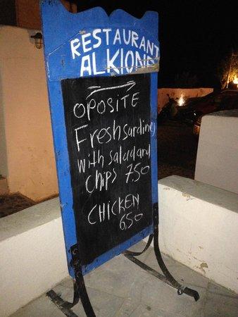 Alkyona Sunset Restaurant: welocme sign
