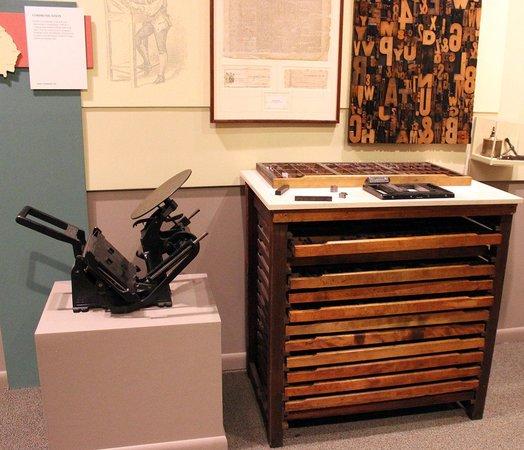 Madison Morgan Cultural Center: Printing press and movable type box