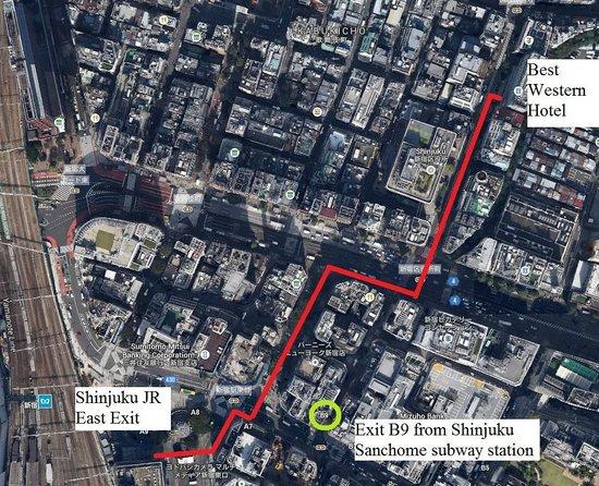 Citadines Central Shinjuku Tokyo: Directions