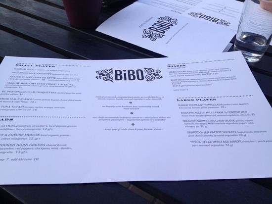 Bibo : menu