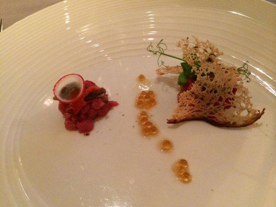 La Credenza The Fork : Risotto mantecato ai peperoni acciughe e clorofilla di prezzemolo