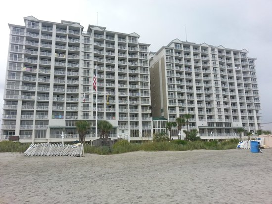 Hampton Inn & Suites Myrtle Beach/Oceanfront: View of the hotel from the beach