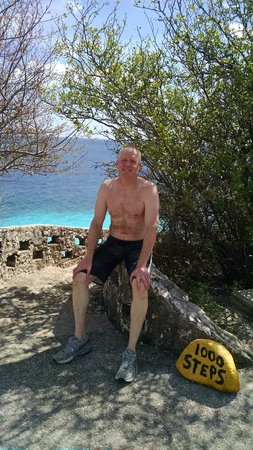 Bonaire National Marine Park: Resting after a dive and hiking up the steps!