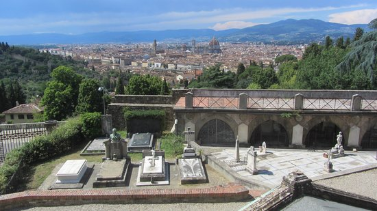 Basilica San Miniato al Monte: View of Florence with tombs in the foreground
