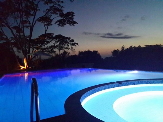 Kilima Kiu Manor: Swimming pool just after nightfall