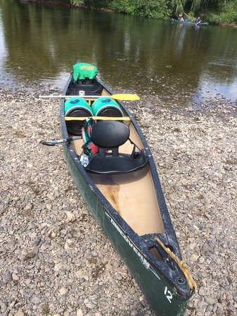 Wye Canoes Ltd: Our canoe with the 2 barrels with our stuff in it