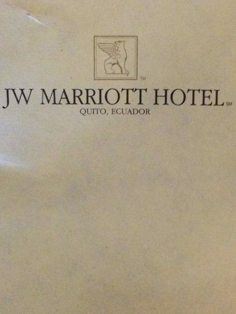 JW Marriott Hotel Quito: Blocchetto per appunti
