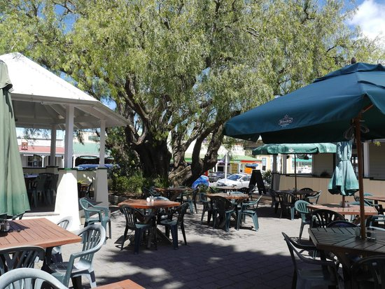 Pepper Tree Restaurant & Bar: Outlook from courtyard to street from Pepper Tree Restaurant