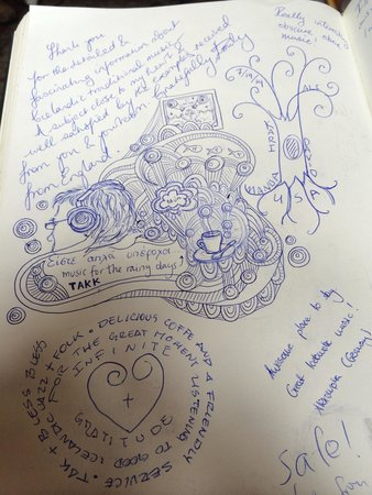 12 Tonar: Have a look at the guest book of 12 Tónar. You'll be surprised of the nice drawings.