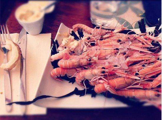 Assiette de langoustines, creperie Les Sablons la Baule