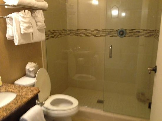 French Market Inn: NIce clean bathroom & shower.  Ground floors have accessible showers.