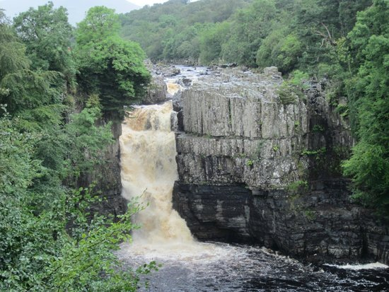 The High Force waterfall as seen from the south bank of the River Tees
