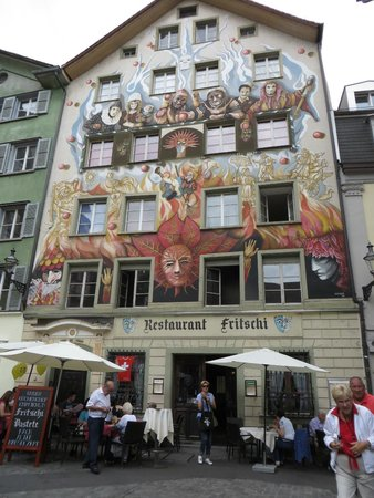 One of many ornate painted building in Old Town Lucerne