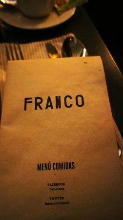 Franco - Cocina Urbana: Menu