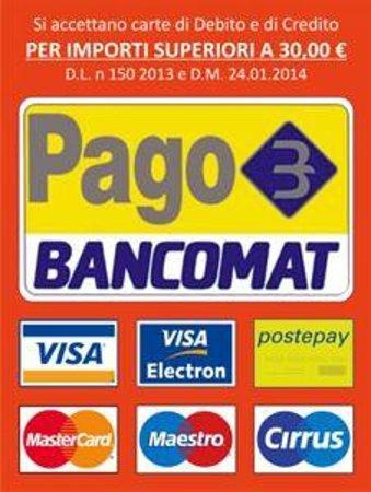 Amarcord Artisan Piada Restaurant: Accettiamo Bancomat e Carte di Credito (tutti i circuiti) per importi superiori a 30,00 €