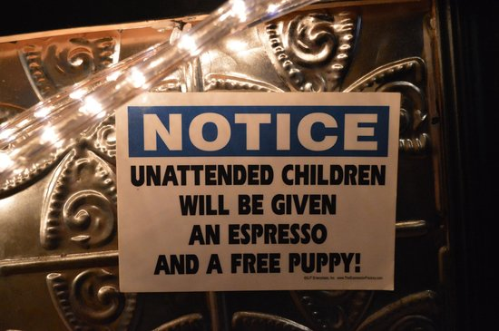 "Bacalao - Nouvelle Newfoundland Cuisine: ""Unattended children will be given an Expresso and a free puppy!"