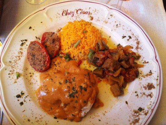 Chez Cesar : Loup with shrimp sauce