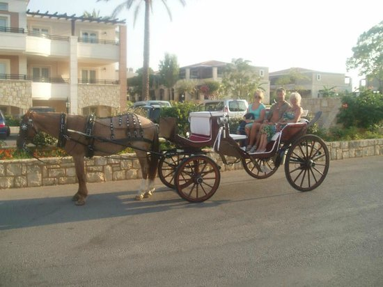 Family Life Creta Paradise by Atlantica: horse drawn evening stroll along the coastline from outside the hotel