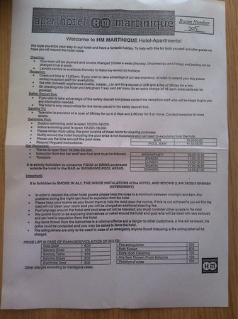 HM Martinique: The info sheet you get with all inclusive times and items to hire. Also if you cause any damage