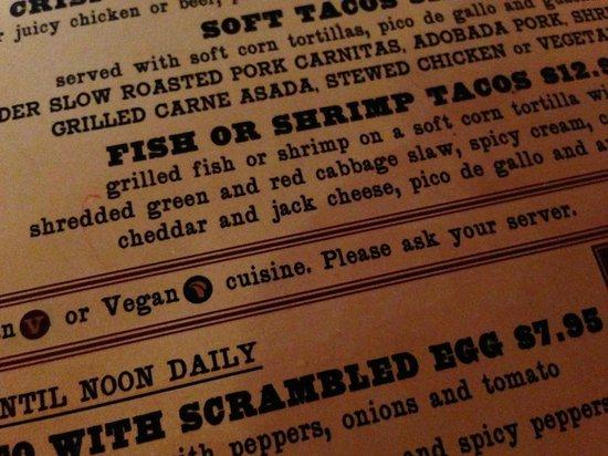 Casa De Reyes Restaurant: Vegan options clearly marked