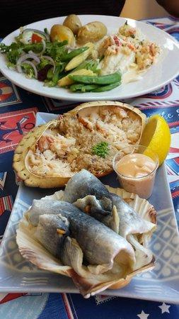 Covesea Cafe: dressed crab- sea bass-Herring roll mop.